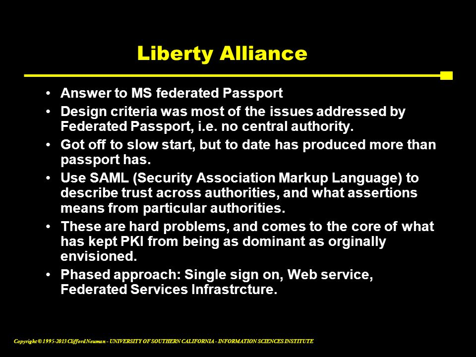 Liberty Alliance Answer to MS federated Passport