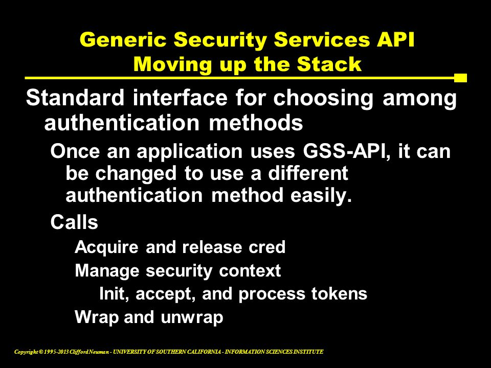 Generic Security Services API Moving up the Stack