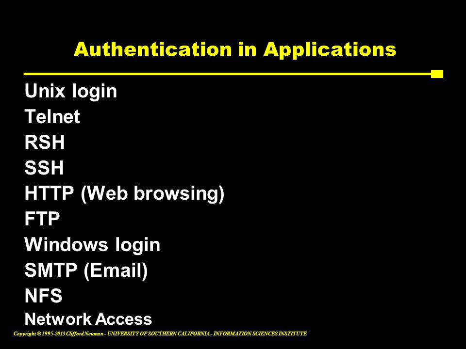 Authentication in Applications