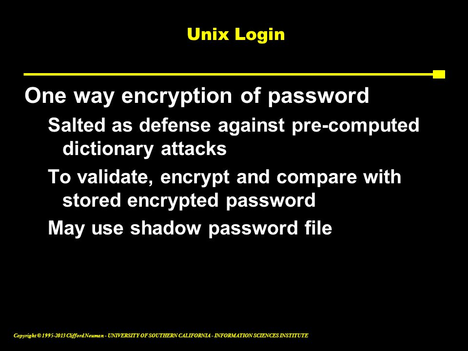 One way encryption of password
