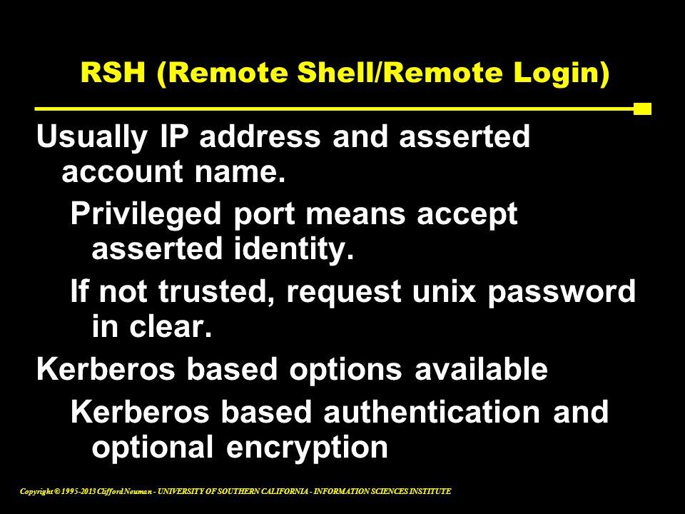 RSH (Remote Shell/Remote Login)