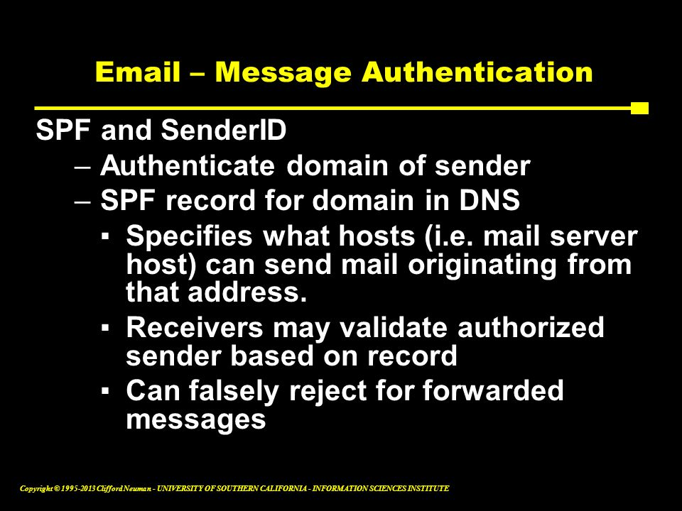Email – Message Authentication