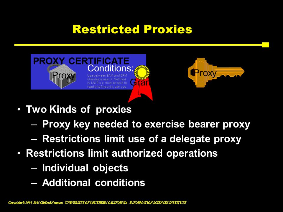 + Restricted Proxies Two Kinds of proxies