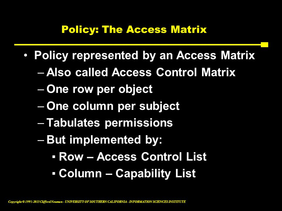 Policy: The Access Matrix