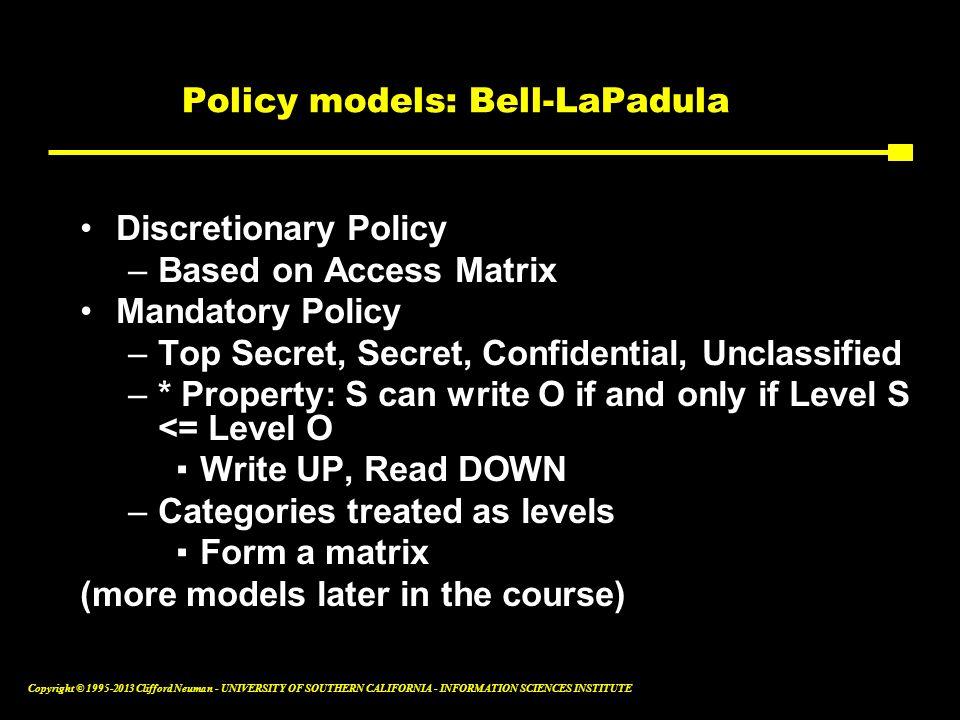 Policy models: Bell-LaPadula