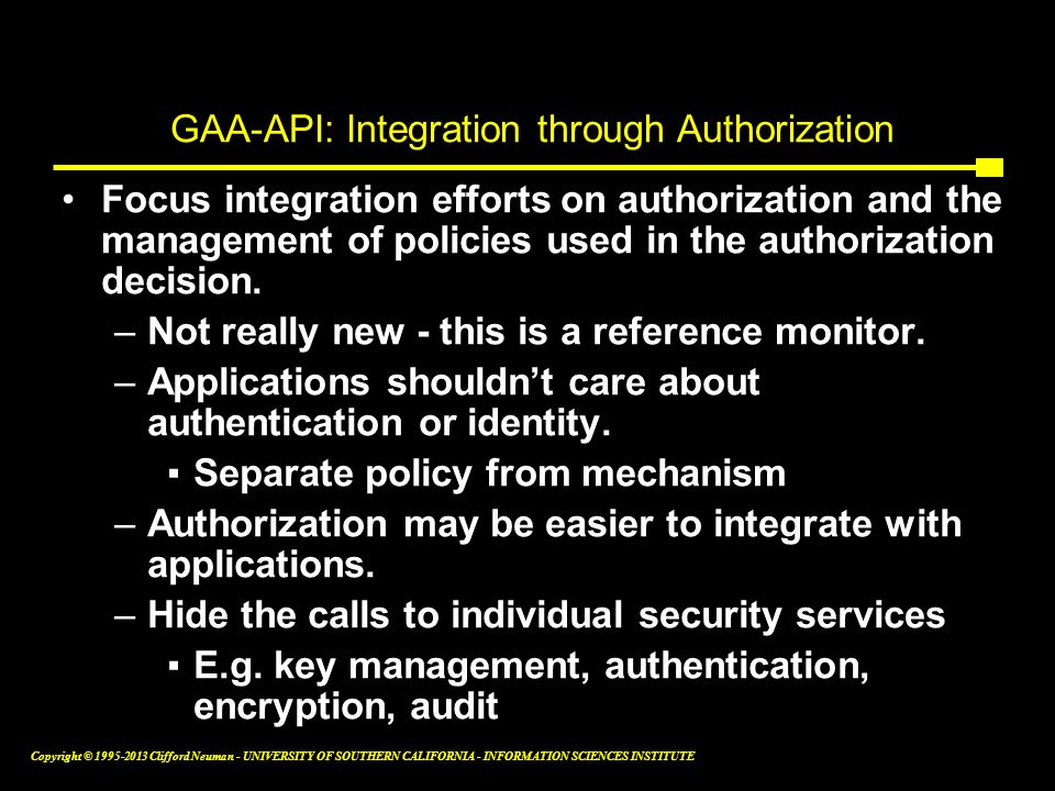 GAA-API: Integration through Authorization