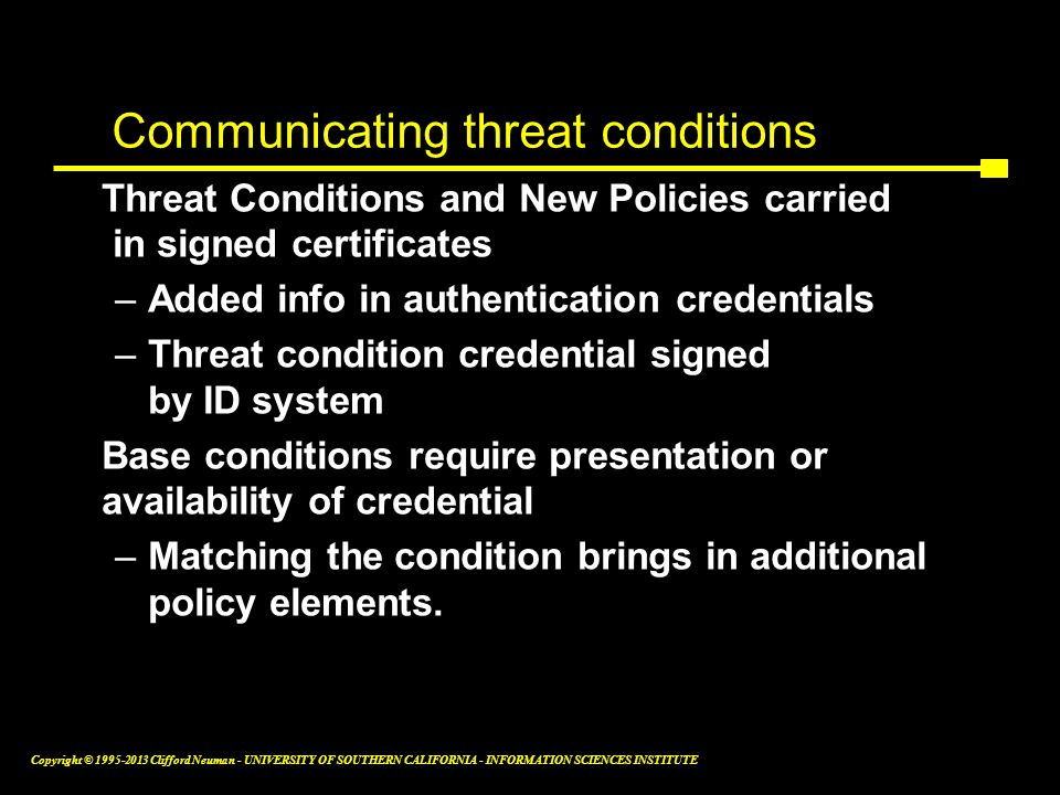 Communicating threat conditions