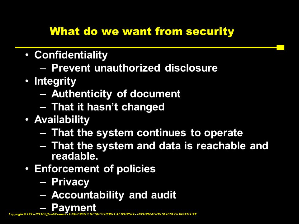 What do we want from security