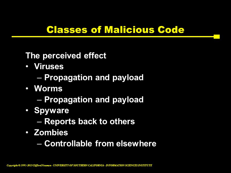 Classes of Malicious Code