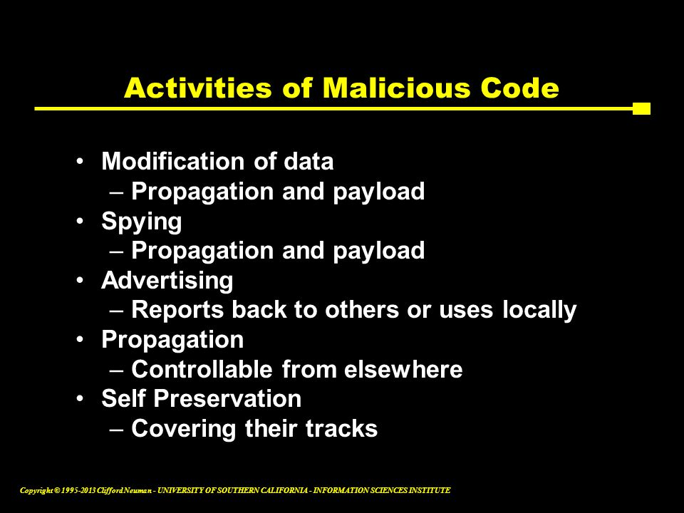 Activities of Malicious Code