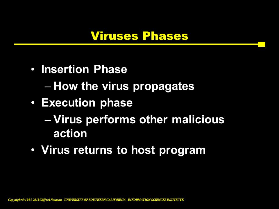Viruses Phases Insertion Phase. How the virus propagates. Execution phase. Virus performs other malicious action.