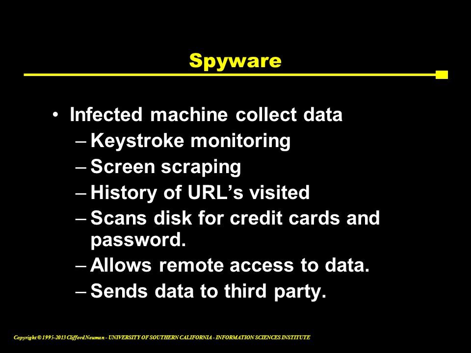 Spyware Infected machine collect data. Keystroke monitoring. Screen scraping. History of URL's visited.