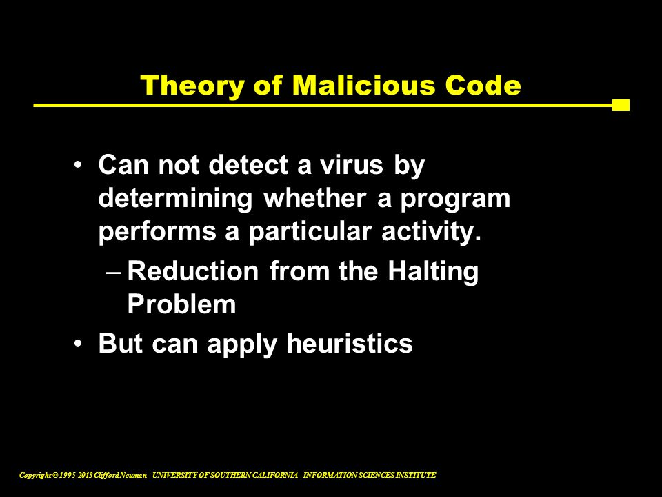 Theory of Malicious Code