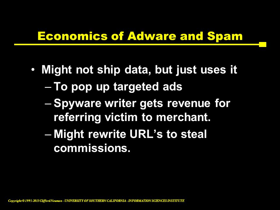 Economics of Adware and Spam