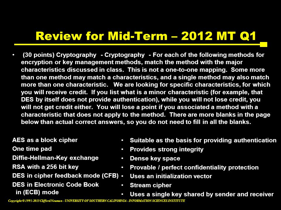Review for Mid-Term – 2012 MT Q1