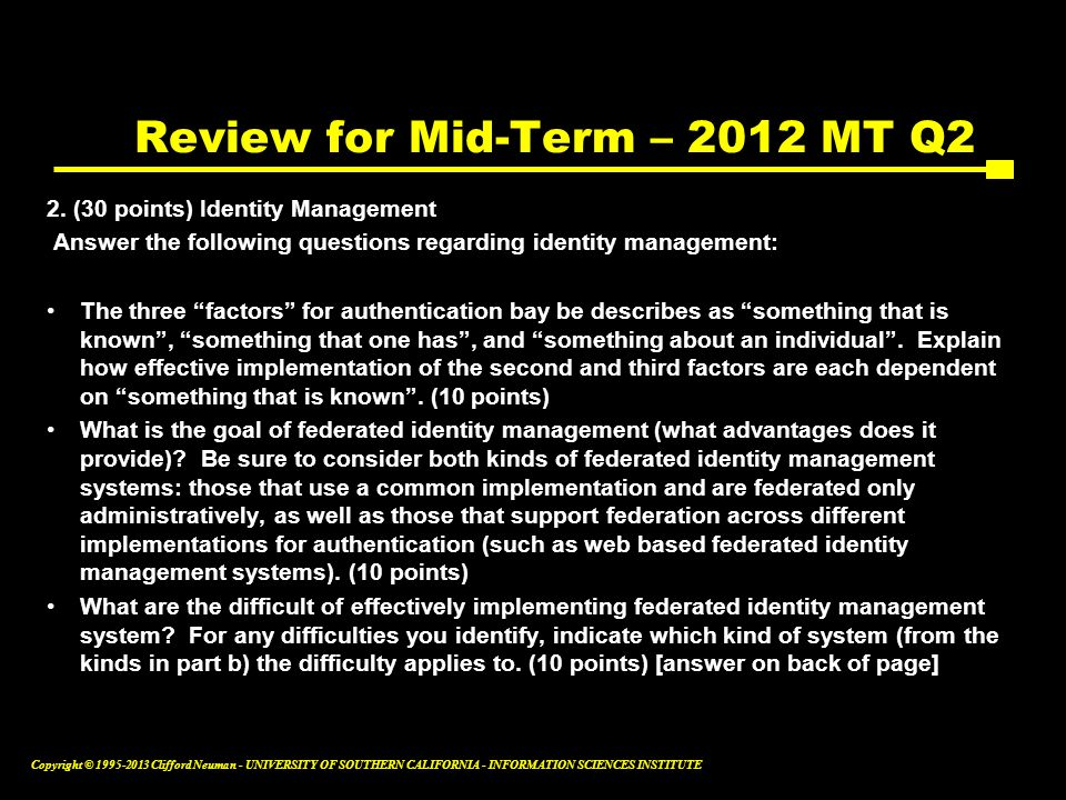 Review for Mid-Term – 2012 MT Q2