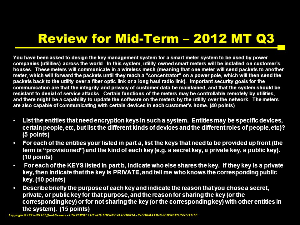 Review for Mid-Term – 2012 MT Q3