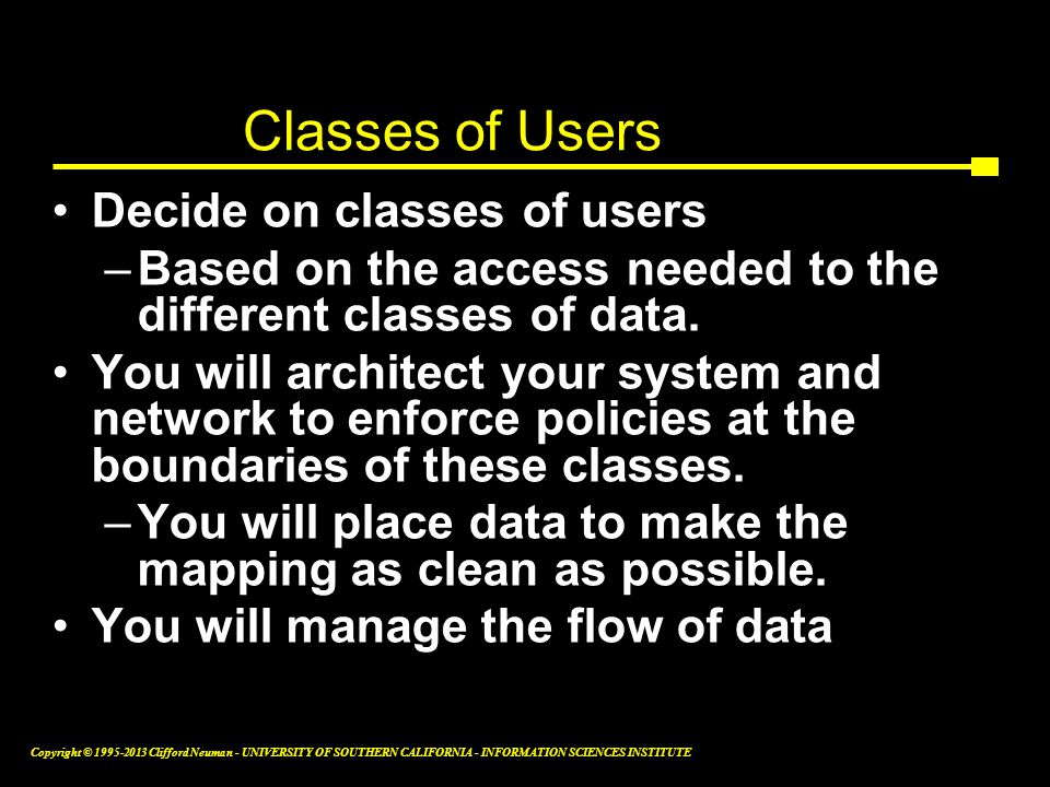 Classes of Users Decide on classes of users