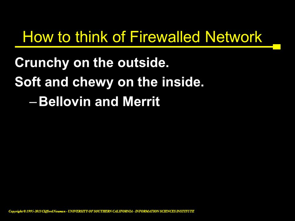 How to think of Firewalled Network