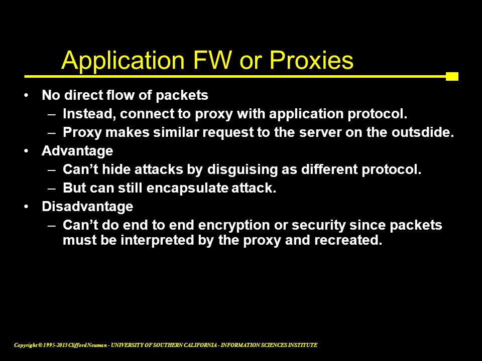 Application FW or Proxies