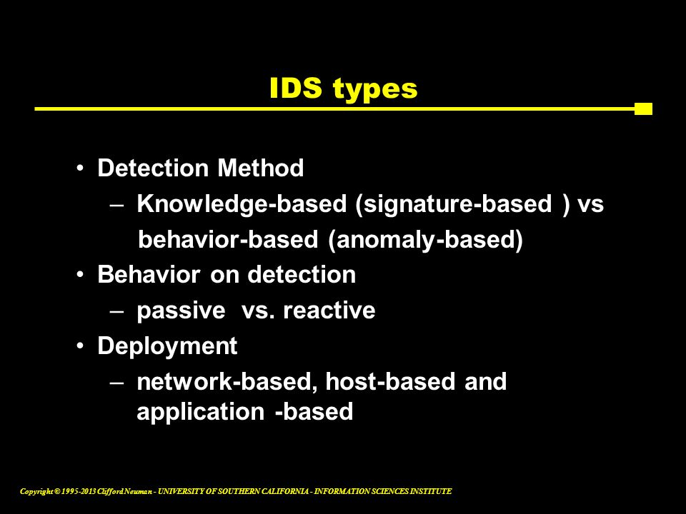 IDS types Detection Method Knowledge-based (signature-based ) vs