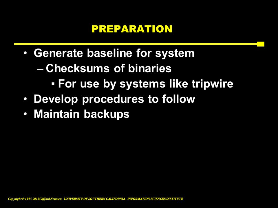 Generate baseline for system Checksums of binaries
