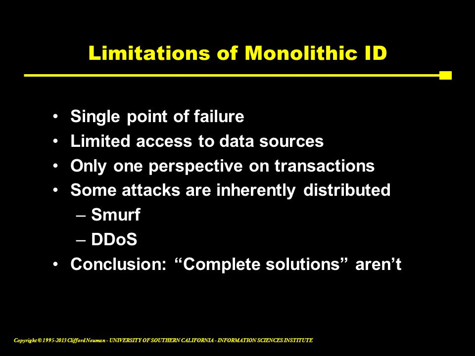 Limitations of Monolithic ID