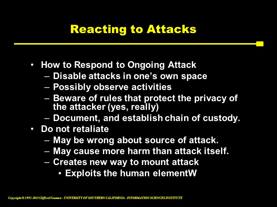 Reacting to Attacks How to Respond to Ongoing Attack