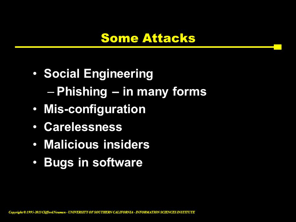 Some Attacks Social Engineering. Phishing – in many forms. Mis-configuration. Carelessness. Malicious insiders.