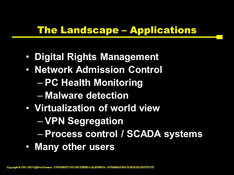 The Landscape – Applications