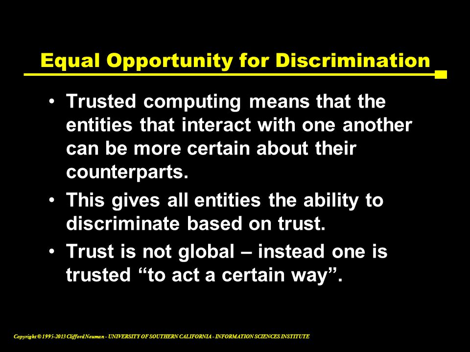 Equal Opportunity for Discrimination