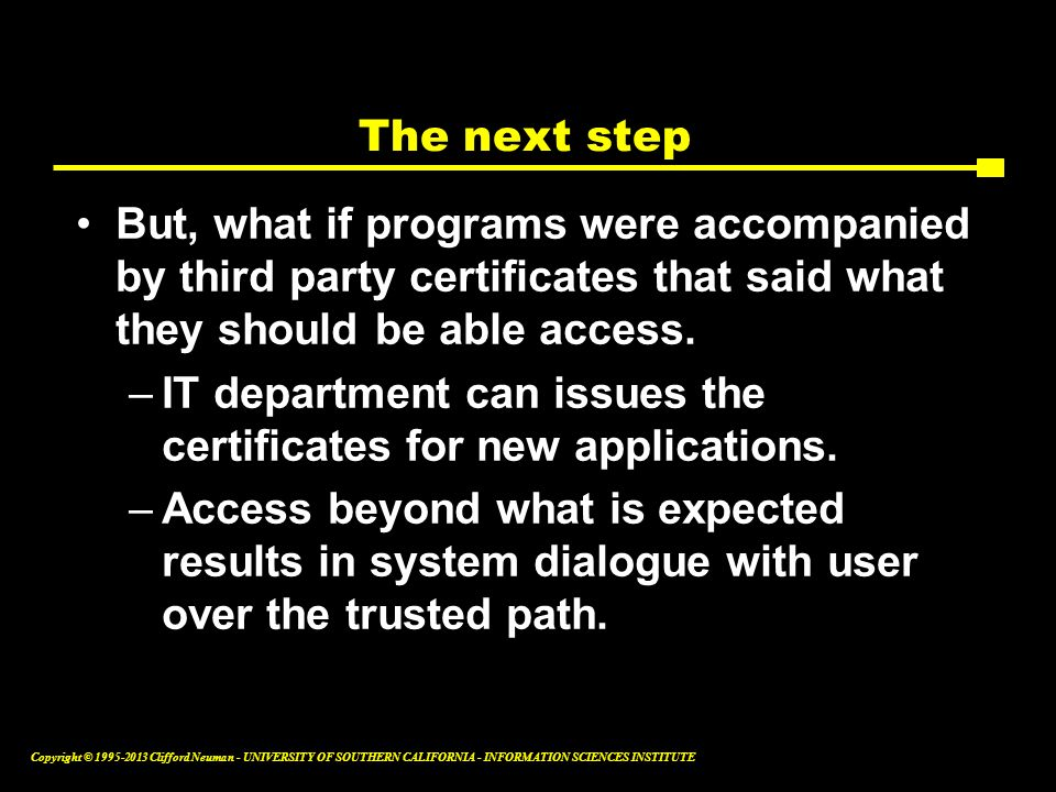 The next step But, what if programs were accompanied by third party certificates that said what they should be able access.