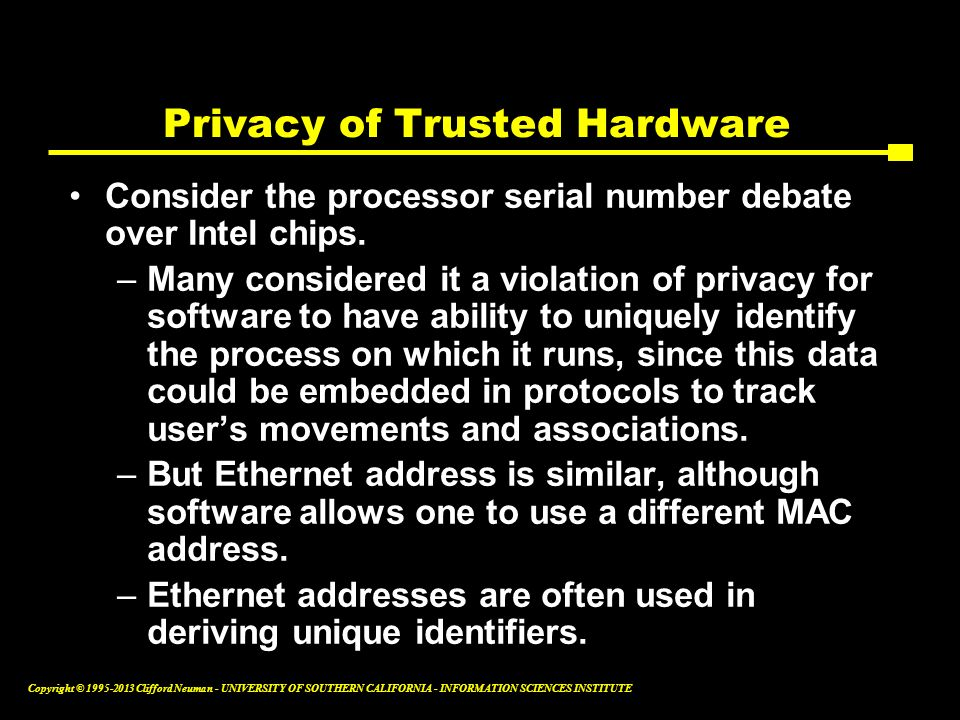 Privacy of Trusted Hardware