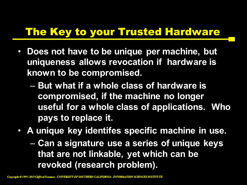 The Key to your Trusted Hardware