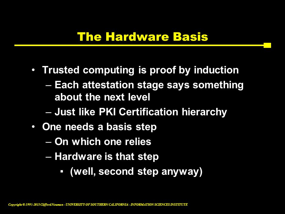The Hardware Basis Trusted computing is proof by induction