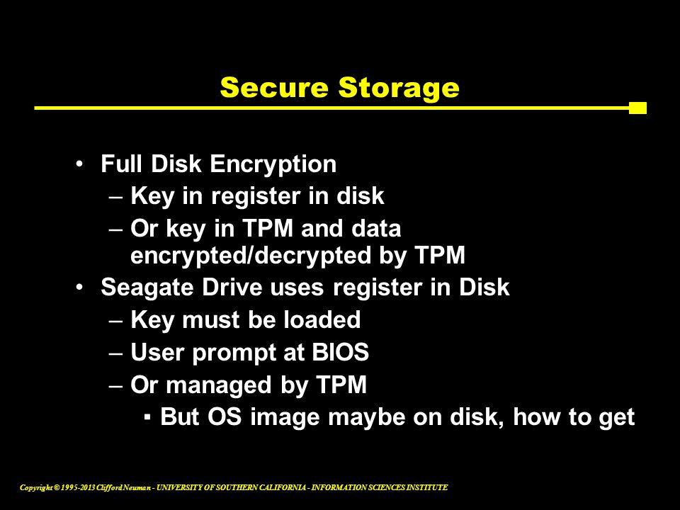 Secure Storage Full Disk Encryption Key in register in disk