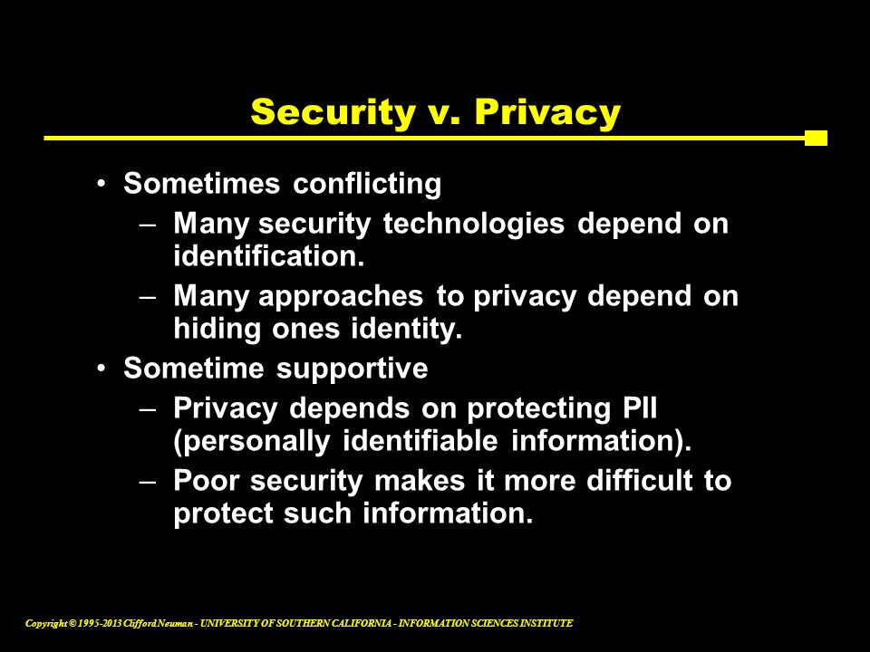 Security v. Privacy Sometimes conflicting