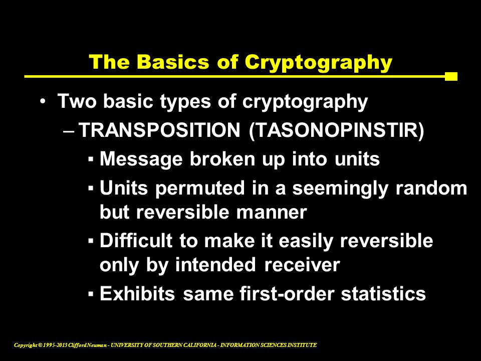 The Basics of Cryptography