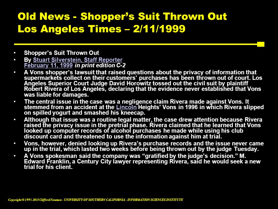 Old News - Shopper's Suit Thrown Out Los Angeles Times – 2/11/1999