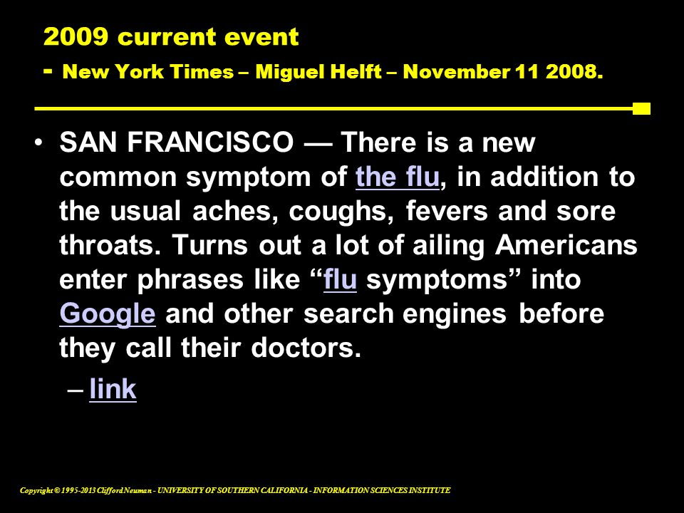 2009 current event - New York Times – Miguel Helft – November