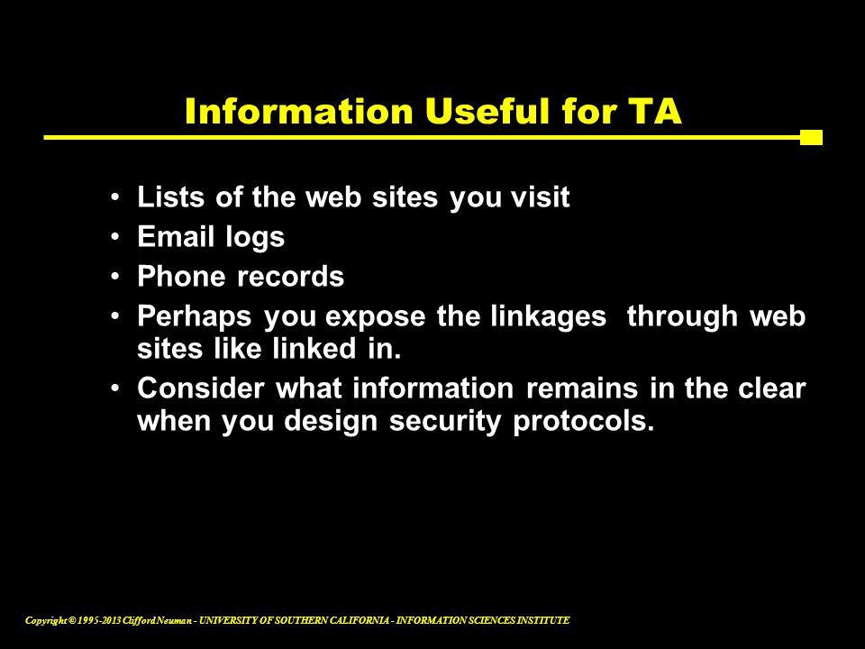 Information Useful for TA