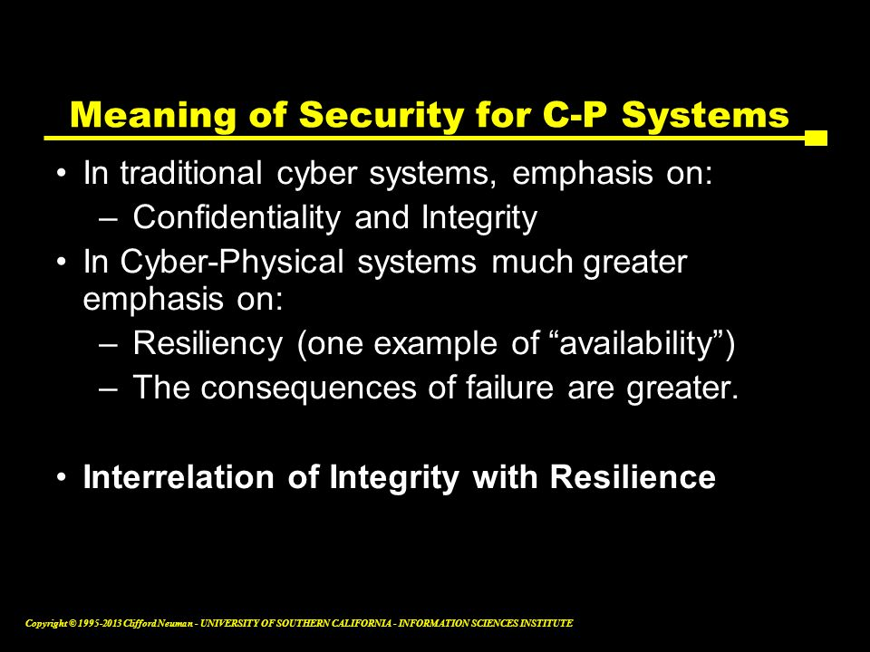 Meaning of Security for C-P Systems