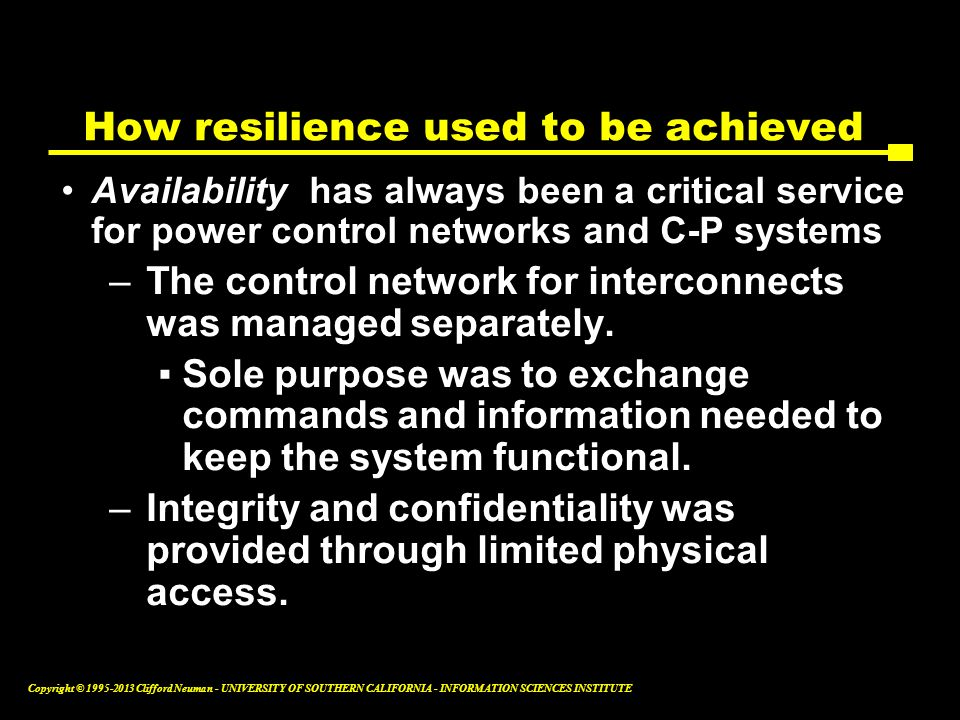 How resilience used to be achieved