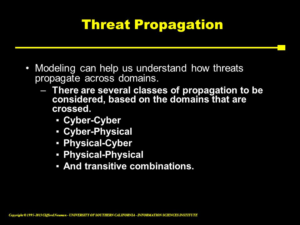 Threat Propagation Modeling can help us understand how threats propagate across domains.