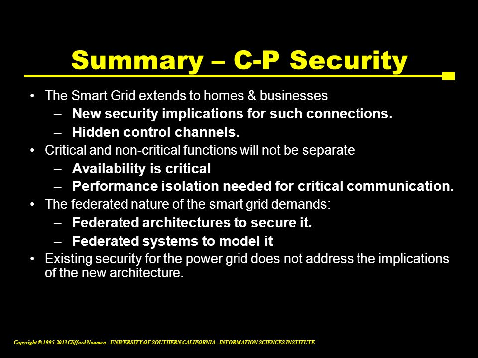 Summary – C-P Security New security implications for such connections.