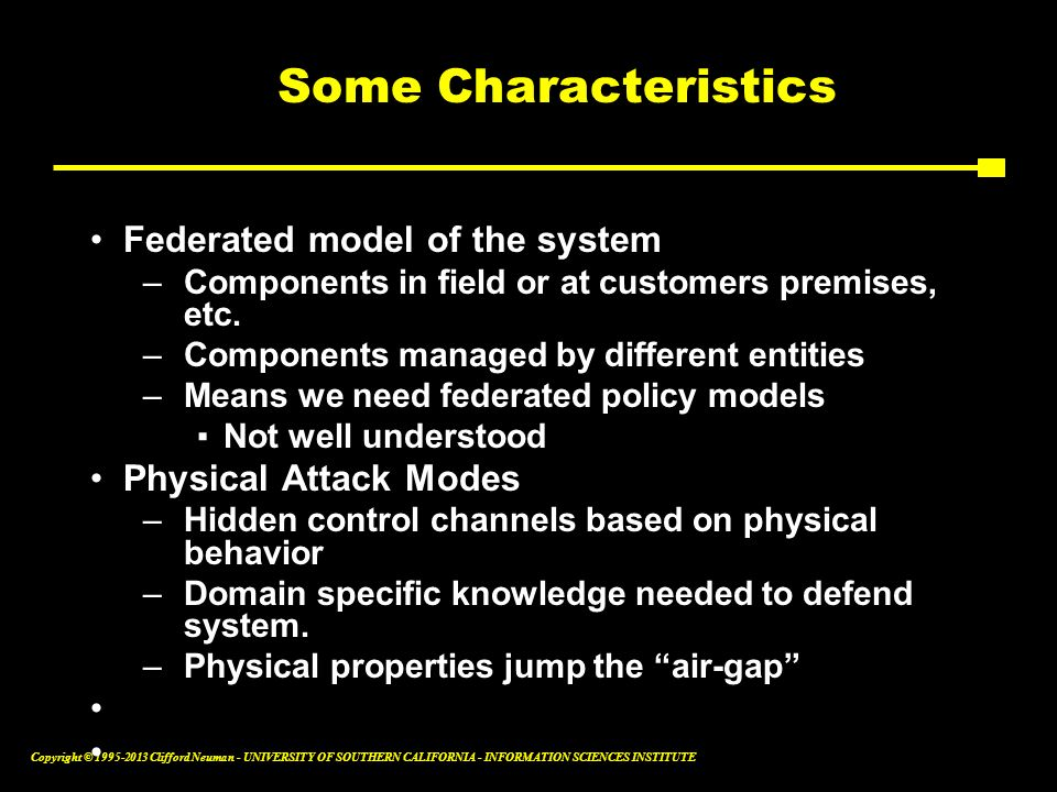 Some Characteristics Federated model of the system