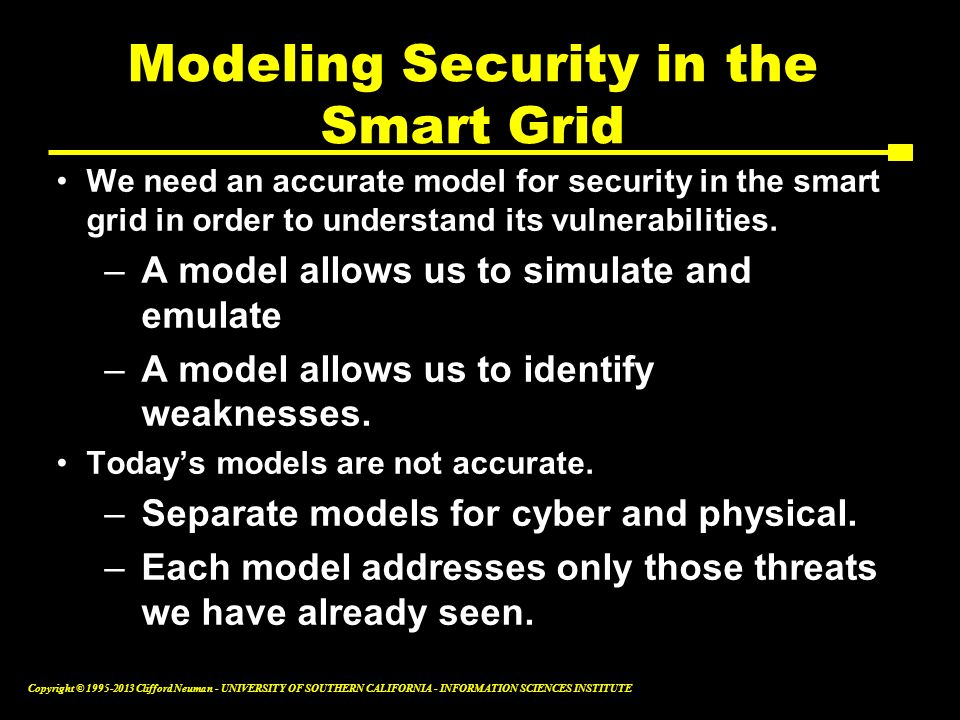 Modeling Security in the Smart Grid