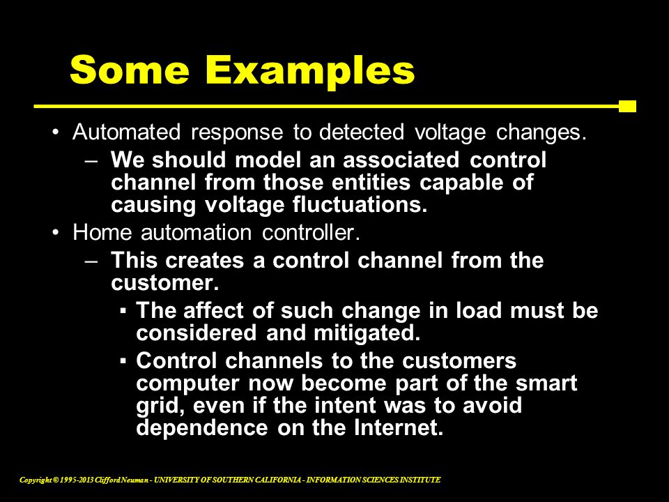 Some Examples Automated response to detected voltage changes.