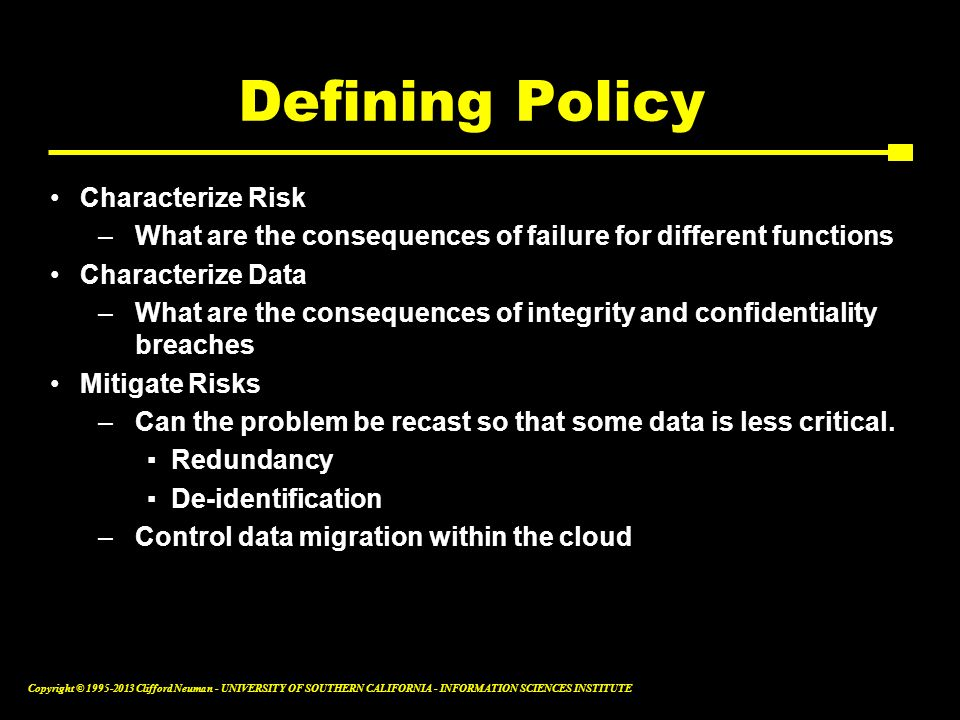 Defining Policy Characterize Risk