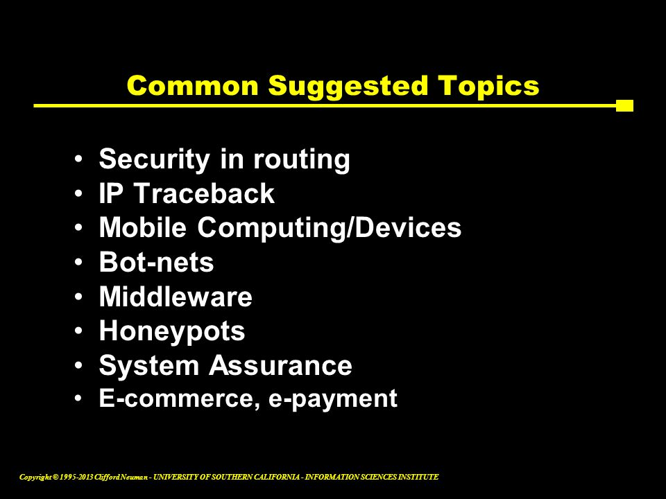 Common Suggested Topics